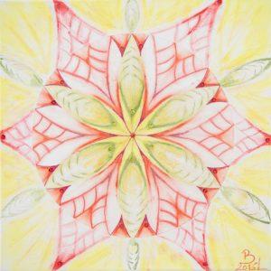 Mandala in gelb - roter Farbe